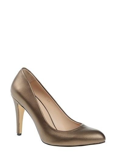 D by Divarese %100 Deri Topuklu Ayakkabı Bronz